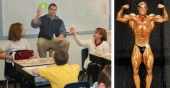 Scott Foster, bodybuilder and teacher at Huntington Catholic School, leading his students (left) and competing.