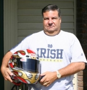 Kent Schenkel with the state-of-the-art helmet he uses. Schenkel will participate in an ARCA test run May 27, with an opportunity to race on June 12.