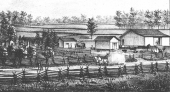 Pictured is the homestead of Mr. and Mrs. Peter Wire in Jefferson Township. The Wire homestead was the site of the first white child to be born in the township -- Lavina Wire -- and it was also the site of the first religious worship in the township.