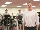 Alex Kock, seen in a physical education class at Huntington North High School, left the school Feb. 27 to begin training to become a Secret Service officer.