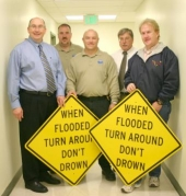 "The National Weather Service has awarded Huntington County four flood warning signs as part of its ""Turn Around, Don't Drown"" campaign."