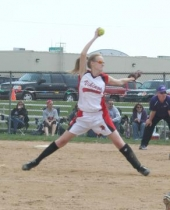 Huntington North High School JV softball pitcher Allison Johnson goes into her wind-up during action against  visiting Muncie Central on Saturday, April 18.