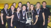 The Lady Viking bowlers display their state runner-up hardware.