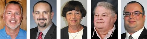School board candidates appearing on the ballot on Nov. 6 are (from left) Scott Hoffman, Thomas Duncan, Sarah Kyle, Rex Baxter and Ryan Wall.