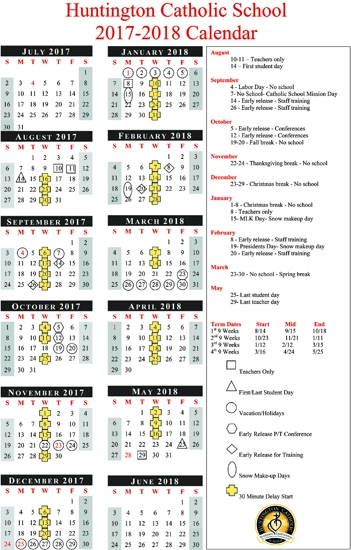 huntington catholic school 2017 2018 school calendar