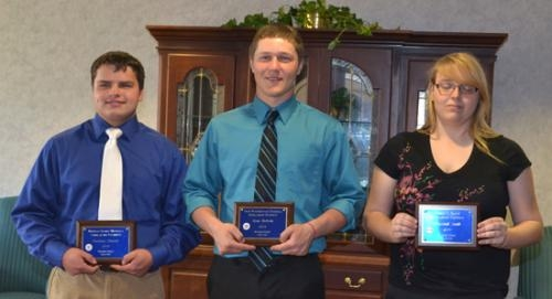 Zachary Shearer, Drew Schnitz and Elizabeth Smith (from left) received scholarships from the Huntington Kiwanis Club on Thursday, May 2.