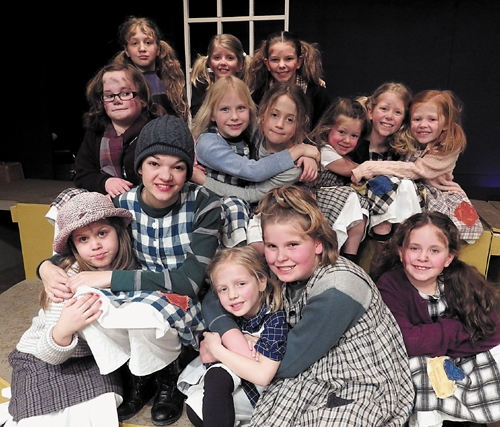 "Pictured are actors starring as orphans in the Pulse Opera House production of ""Annie Jr."""