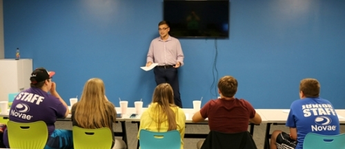 Quinn Kumfer (standing), marketing manager at Specialty Entrance Technologies, gives a lesson on how to create a resume to members of the Parkview Boys & Girls Club of Huntington County Keystone Club on July 31. Listening are (from left) Adin Ivey, Kristina Parker, Gabby Minick, Corbin Bolding and Braxton Craft. The group will continue with classes on Aug. 14 and 21.
