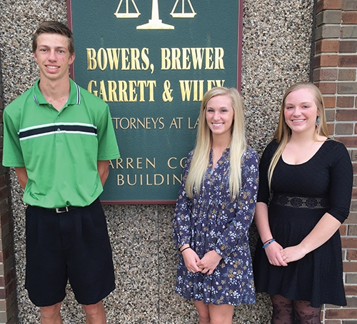 Nolan Betterly, Kayci Clark and Jami Norwood (from left) are the recipients of 2017 educational scholarships from the Huntington County law firm of Bowers, Brewer, Garrett & Wiley LLP.