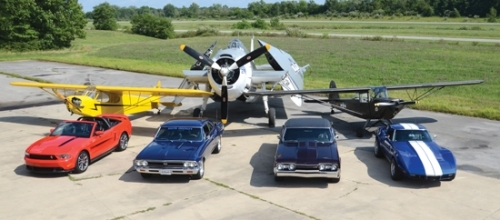 Among the vintage cars and vintage airplanes to be on display on Saturday, Sept. 14, at the Busted Knuckles Auto Club Car Show and Fly-In at the Huntington Municipal Airport are (front from left), a 2012 California Special Mustang GT owned by Rick Glassie, a 1966 Chevelle SS owned by Fred Crago, a 1967 Olds 442 owned by Joe Brubaker and a 1973 Chevrolet Corvette owned by John McClain as well as (back row from left) a 1947 Piper Cub J-3, a1944 General Motors Grumman TBM-3E Avenger bomber and a 1943 Taylorcraft L-2, all owned by Tim Savage.