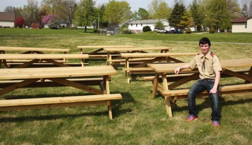 Eagle Scout Rank Within Reach For Area Scouts Huntington County Tab - Picnic table with grill built in
