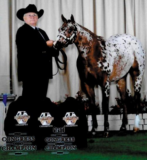Bob Zahm poses with J Bar J's Sweet Art Kidd after the Pony of the Americas yearling filly won first place in the yearling filly class in Tulsa, OK, in November 2012. Zahm owns the filly in conjunction with Leslie Zahm and Travis and Linzy Lahr.