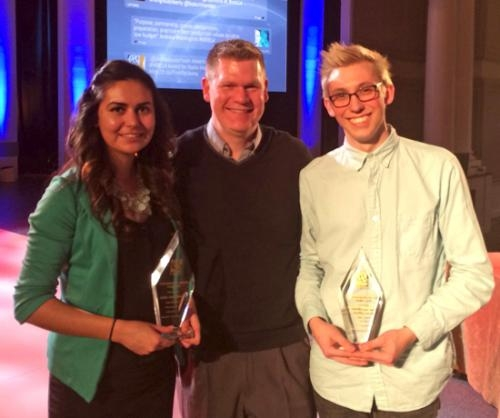 Dr. Lance Clark (center), professor of digital media arts at Huntington University, poses with HU students Julia Moore (left) and Kevin Turner (right), who were recognized in the 2014 Intercollegiate National Religious Broadcasters Awards.