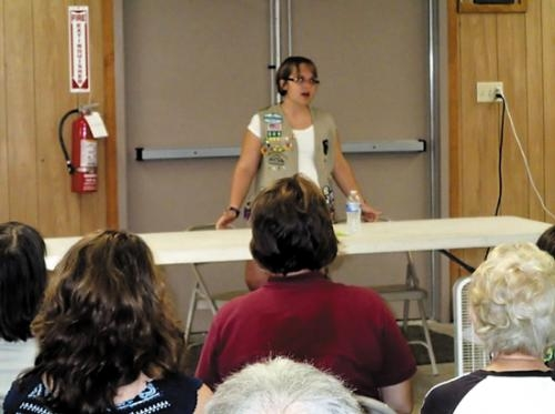 Kayla Brunner discusses the gluten-free lifestyle during a workshop she organized as part of the requirements to earn the top Girl Scout honor, the Gold Award.