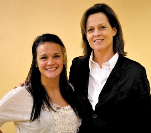 Saint Mary's College sophomore Caryn Garton (left), of Roanoke, stands with actress Sigourney Weaver, the Margaret Hill Endowed Visiting Artist for the year. Garton, a philosophy and theater major, participated in an acting master class with Weaver.