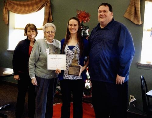 Kaylie Killian (third from left) receives the Good Citizen Award from the Samuel Huntington chapter of the Daughters of the American Revolution.