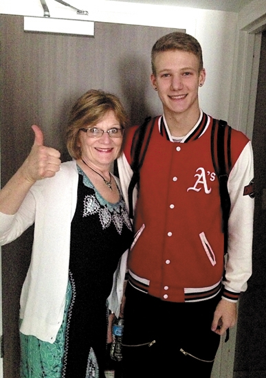 """Dancin' Dylan"" Wilson poses with his proud grandmother, Sally Anderson (left), in their hotel room as she accompanies him to his audition for NBC's ""America's Got Talent."""