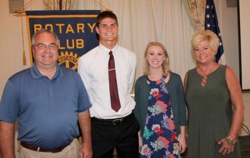 The Huntington Rotary Club's Junior Rotarians for December are Zach Daugherty (second from left) and Katelynn Olinger (third from left). They are sponsored by Rotarians Bill Miller (left) and Chris Sands (right).