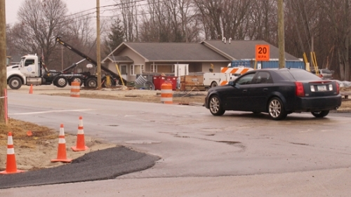 A car proceeds down Huntington's Etna Avenue, which has been the scene of various construction projects from Jessup Street to the Wabash River. Residents and property owners on the street recently received a letter outlining upcoming work to be performed in the area.