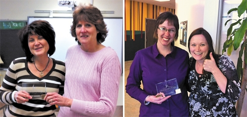 Beth West (left, photo on left) received the Huntington University Peer Award for February from Pam Rudy (right). Deb James (left, photo on right) received the same award from Sara Baldwin.