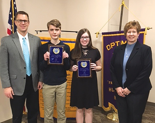 The Huntington Optimist Club recently honored two Crestview Middle School students with its 2018 Youth Appreciation Award. Dane Blackburn (second from left) and Kate Groves (third from left) received the honors. Joining them for the photo are Crestview Principal Chuck Werth (left) and Huntington Optimist Club President Paula Whiting.