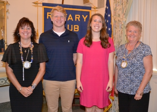 Joe Stoffel (second from left) and Gabi Haneline (third from left) are the Huntington Rotary Club's Junior Rotarians for February. With them are Rotary Club sponsors Cindy Krumanaker (left), standing in for Matt Roth, and Rosie Wall.
