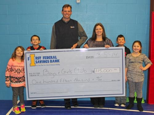 Members of the Parkview Boys & Girls Club of Huntington County celebrate with the Zahn family's and First Federal Savings Bank's combined gift of $115,000 toward the club's capital campaign fund.
