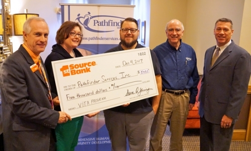 1st Source Bank presents a $5,000 check to Pathfinder Services Inc. for its Volunteer Income Tax Assistance (VITA) program. Pictured are (from left) Lyle Juillerat, 1st Source Bank, assistant vice president, manager; Kristy Wall, Pathfinder Services Inc., homeownership counselor/VITA coordinator; Justin Barker, Pathfinder Services Inc., homeownership director; John Niederman, Pathfinder Services Inc., president; and Rob Patrick, 1st Source Bank, vice president, trust officer.