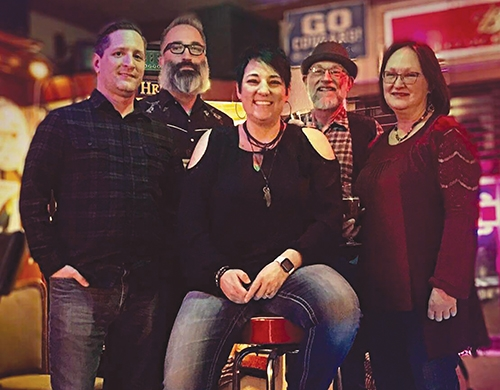 Members of Jen & The Foggy Creek Band include (from left) John Foxworthy, drums and percussion; John Warner, banjo; Jen Fisher, lead vocals and rhythm acoustic guitar; Tommy Myers, bass, mandolin and accordion; and Celia Price, keyboards. The group will perform at Cottage Event Center on March 23.