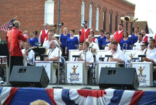 Robert Nance (left) directs the Heartland Chamber Chorale and Heartland Jazz Orchestra during the 2012 Freedom on Main celebration in downtown Roanoke. The groups will return for a patriotic concert during this year's celebration on July 3.