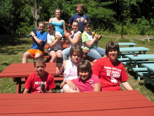 A work crew worked on Girl Scout Leslie Yarde's Gold Award project, which created 18 new picnic tables for the Izaak Walton League of Huntington County.