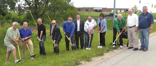 Ceremonial groundbreaking for new sewer and water lines along U.S.-24 north of Huntington on Tuesday, May 28.