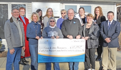 Some of the organizations that recently received 2019 Cycle II grants from the Huntington County Community Foundation are (front row from left) Craig Reese, Oak Hill Farm; Karen Gize, Kate's Kart; Jean Pasko, Drake Goetz Memorial Park; Donnie Foster, Indiana Dream Center; Dawn Zahm Wilson, Rapid Rehousing and Homeless Prevention/Huntington House; and Nate Perry, Huntington University; and (back row from left) Leisa Drinkwater, Community Harvest Food Bank of Northeast Indiana; Sarah Wright, Family Centered Services/Healthy Families; Kelley Miller, Love INC; Suzanne Jepsen, Friends of the Huntington City-Township Public Library; Renee Shultz, Huntington House; and Janelle Taylor, Huntington University.