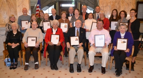 "Inductees recognized at the 2017 Huntington County Honors program and their representatives are (front, from left) Mildred Tullis, Ross Clark, Joan Keefer and Mel Ring, all inductees; Mark Wickersham, executive director of Huntington County Economic Development, representing J.W. Caswell and Winfred Runyan; and Jean Ringer, representing the Bippus family; (second row, from left) Margie Hedrick, Andy Purviance and Mary York, representing their mother, Emmaline ""Emmy"" Purviance Henn; Joyce Baker Hewitt, representing her father, Dr. E. DeWitt Baker; Susan Richey, representing her father, Dr. Robert M. Hafner; Linda Bryant, representing her great-aunt, Helen Purviance; Dodie Neuhauser and Diana Parker, representing their father, Gerald ""Jerry"" Yeoman; and Jennifer Koch and Lisa Fusselman, representing their father, Ivan ""Kaiser"" Wilhelm; and (back row, from left) Annette Baker Shepherdson and Dr. Ron Baker, representing their father, Dr. E. DeWitt Baker; inductee Dr. Gary Dilley; Luke Scheer Jr., representing his father, Luke Scheer Sr.; Chris Atchison, representing his grandmother, Elizebeth Smith Friedman; and Huntington County Honors board member Amber Hudson, representing H. Allen Smith."