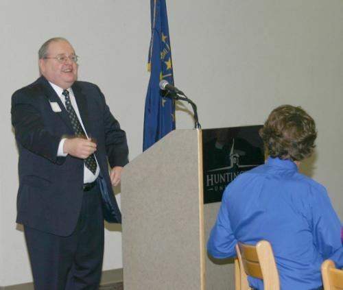 """Larry Ingraham tells a story before getting into his keynote speech during the second annual Business Appreciation Luncheon on Monday, Dec. 14 at the Habecker Dining Commons. His speech was """"Keys to Economic Development Success."""""""