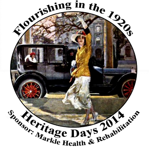 "The new logo for Heritage Days 2014 incorporates both the festival theme, ""Flourishing in the 1920s,"" and the name of its sponsor, Markle Health & Rehabilitation."