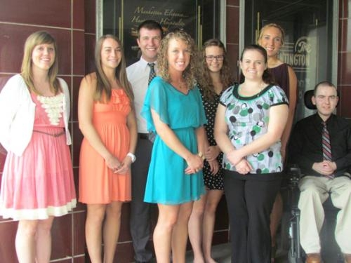 Recipients of 2013 H.E.L.P. scholarships are (front row from left) Heidi Blocker, Stephanie Gray, Amanda Satchwill, Nicole Shaw and Colin McIntyre; and (back row from left) Steven Freck, Olivia Ely and Kayla Koch.