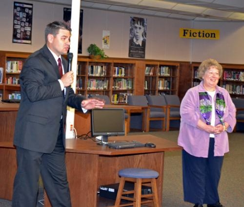 Huntington North High School Principal Chad Daugherty (left) introduces Debbie Wiley as the HNHS Teacher of the Year for 2013 on Tuesday, April 23.