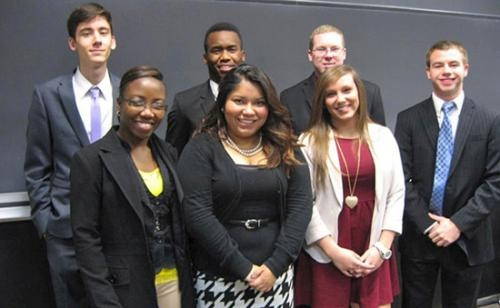 Huntington University pre-law students who recently competed in a mock trial competition were (front from left) Samantha Lawrence, Rosa Cruz and Korynne Kik and (back row from left) Steven Uhey, Reneson Jean-Louis, Brad Barber and Sam Thompson.