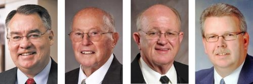 Receiving honorary degrees from Huntington University at its commencement  on May 18 will be (from left) Mike Packnett, Dale Haupert, Emmett Lippe and Edward Souers.