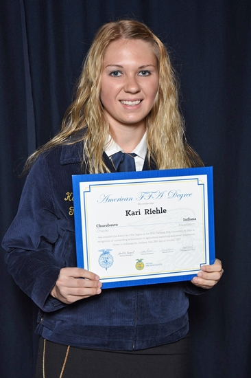 Karilyn Riehle, a Huntington University junior majoring in agribusiness marketing, has received the American FFA Degree from the National FFA Organization.
