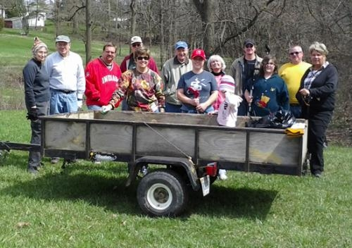 A group from St. Peter Lutheran Church poses before setting out on a cleanup detail at Memorial Park.