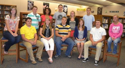 Candidates for homecoming king and queen at Huntington North High School ose for their photo in the HNHS library on Monday, Sept.10.