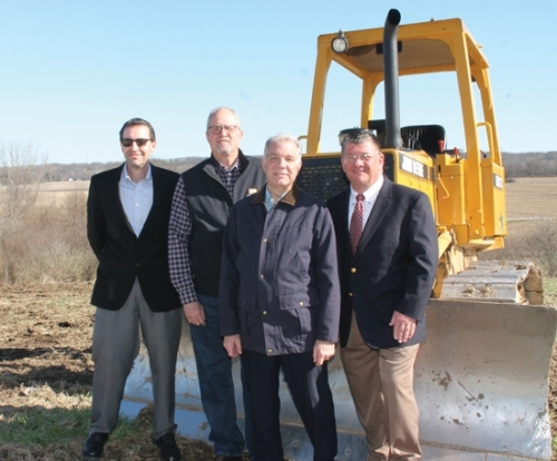 City officials join Huntington County United Economic Development representatives as they announce the name of Riverfork Industrial Park Westfor the newly acquired, 127-acre industrial site on the southwest side of Huntington. Pictured (from left) are Dale Buuck, marketing consultant; Huntington Common Council President Charles Chapman; Common Councilman Joe Blomeke; and HCUED Executive Director Mark Wickersham. The site is located alongside CR200N, west of Ind.-9.