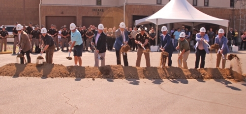 Ground is ceremonially broken to signal the start of the Huntington County Jail expansion project on Wednesday, June 17. The project, which will see 130 beds added to the jail, is expected to be completed by February 2022. Pictured are (from left), Scott Carnegie and Phillip Wink, both of DLZ, which designed the jail addition; Ron Kline, Huntington County Council; Larry Buzzard and Tom Wall, Huntington County Commissioners; Huntington County Sheriff Chris Newton; Rob Miller, Huntington County Commissioners; Terry Miller, Huntington County Council; and Chris Sosebee and Brad Knable, both of Weigand Construction, which is building the jail addition.