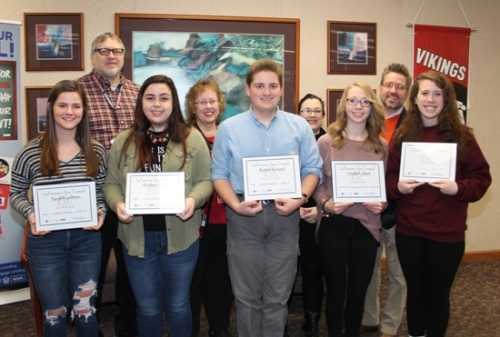 The LaFontaine Arts Council's Artists of the Month from Huntington North High School for December and January were announced on Thursday, Jan. 18. Pictured are students (front row, from left) Sarah Kauffman, drawing; Madison Sheets, yearbook; Robert Borland, drama; Elizabeth Allred, Viking New Tech; and Gabrielle Haneline, vocal music; and teachers (back row, from left) Joe Haft, art; Ruth Reed, drama; Chelsea Noffsinger, Viking New Tech; and Dan Baker, choir.