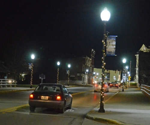The new lights poles installed on South Jefferson Street in Huntington got a holiday update of Christmas lights and garland thanks to donations by several individuals and businesses.