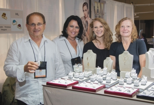 Shonah Landes (second from right) and Penny Cuttriss (right) from Bowers Jewelers meet with Jerry Chicone (left) and Diane Pelia at the H.L. Manufacturing booth during the 2019 Retail Jewelers Organization Summer Buying Show held recently in Schaumburg, IL.