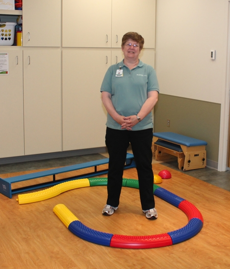 Cindy Goshert, a physical therapist at Parkview Huntington Hospital, stands in the hospital's new outpatient pediatric rehab area on Tuesday, June 25.