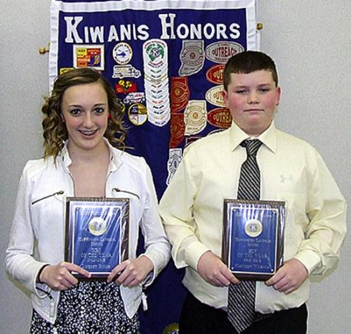 Lindsey Scher (left) and Matthew Warner were recognized as outstanding eighth graders from Huntington Catholic School at the March meeting of the Metro Kiwanis Club.